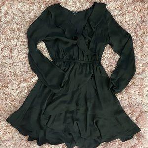 Express black long sleeve ruffle dress size small